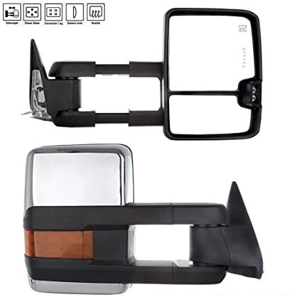 PAIR For 07-13 Silverado Sierra Power Heated Towing Mirrors LED Amber Signal