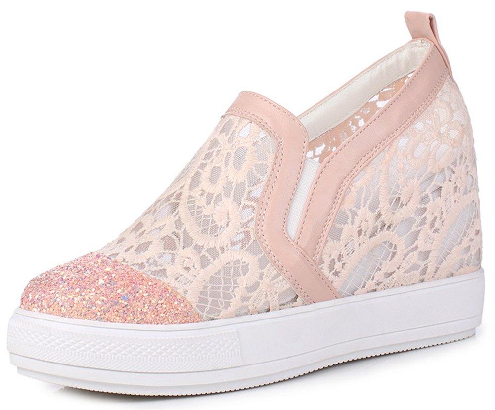 IDIFU Women's Trendy Glitter High Wedged Heels Inside Round Toe Pull on Sneakers (Pink, 9 B(M) US)