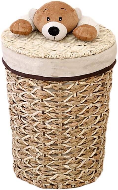Rattan Style Plastic Storage Laundry Clothes Toy Hanging Basket Hamper Beige
