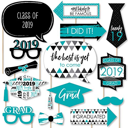 Teal Grad - Best is Yet to Come - Turquoise 2019 Graduation Party Photo Booth Props Kit - 20 Count