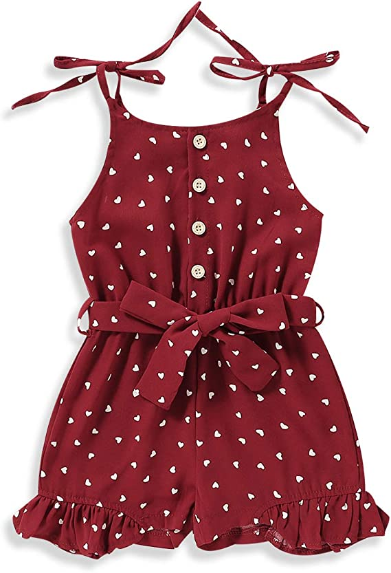 hunan Toddler Kids Little Girls Strap Rompers Jumpsuits Heart Print Ruffle Short Overalls Summer Outfit Clothes
