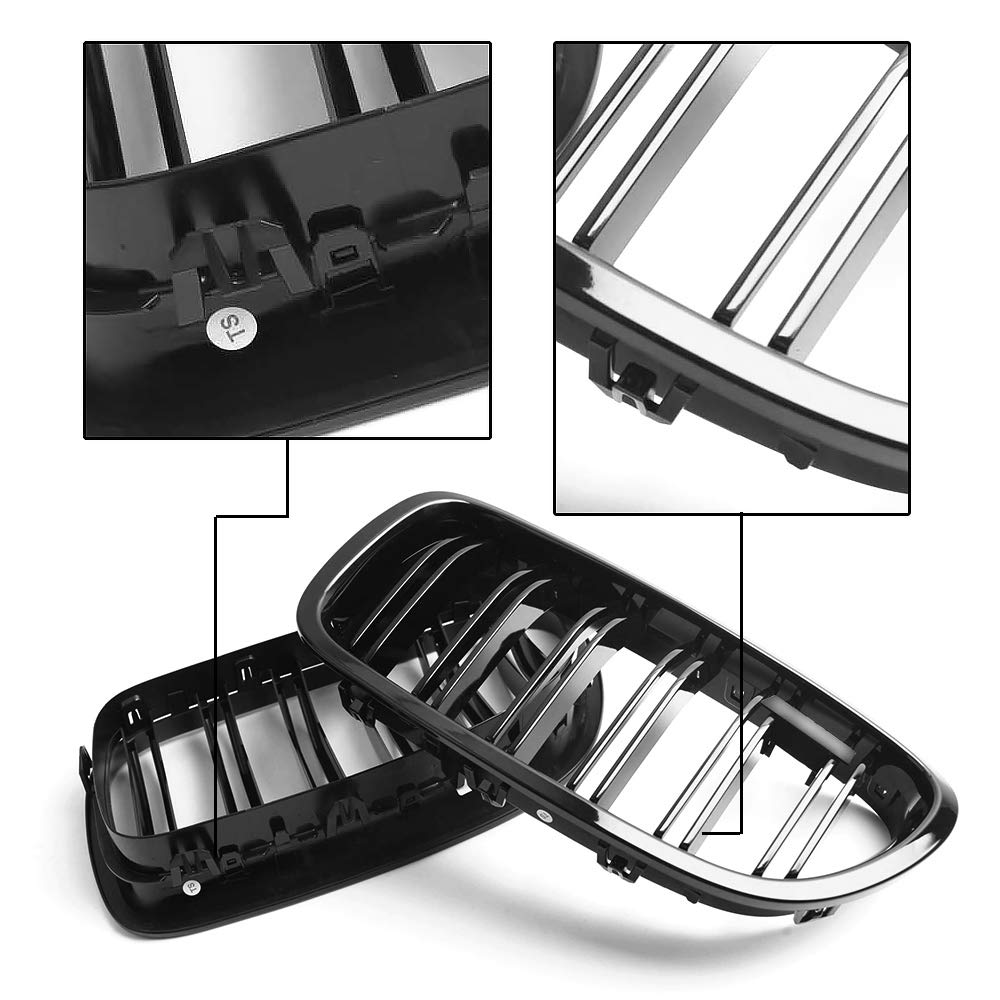Front Kidney Grill for 2010-2016 BMW 5 Series F10 F11 And F10 M5 Single Slat Gloss Black Grill, 2-pc Set SNA F10 Grille