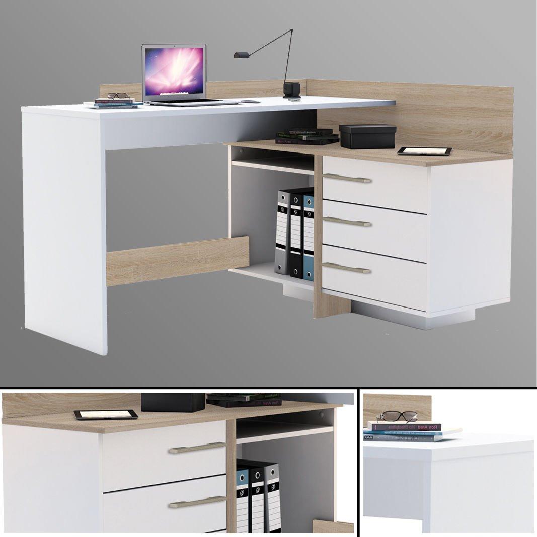 Habeig Eck-Schreibtisch  881 Sonoma Eiche weiß Computertisch Eckschreibtisch PC-Tisch