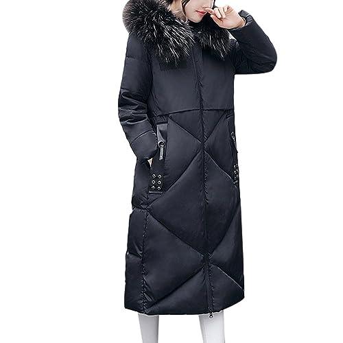 Zhhaijq Caliente para el invierno Large Size Thick Hair Collar Winter Feathers Cotton Dress Women Ko...