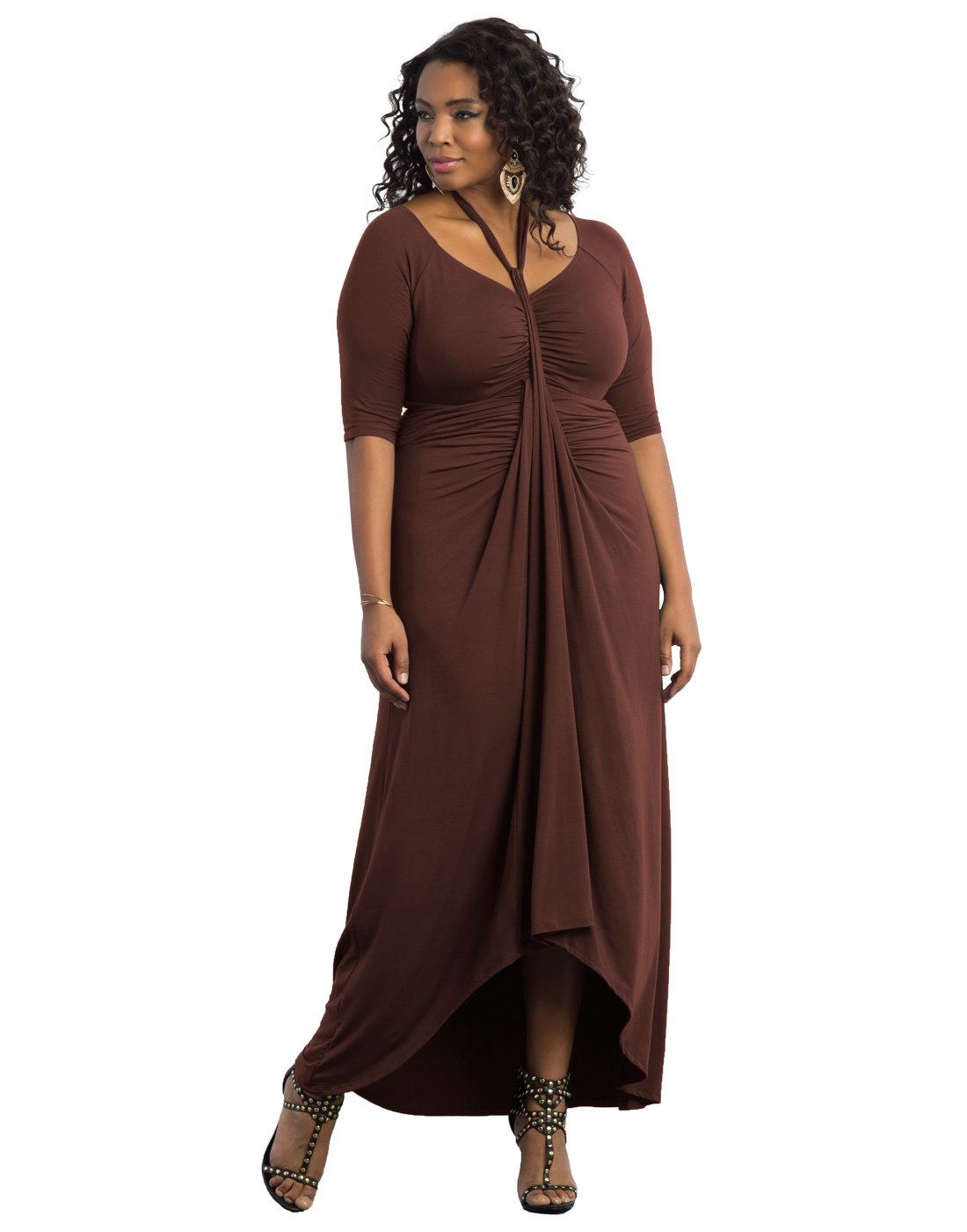 Kiyonna Women's Plus Size Divine Draped Maxi Dress 1X Mahogany