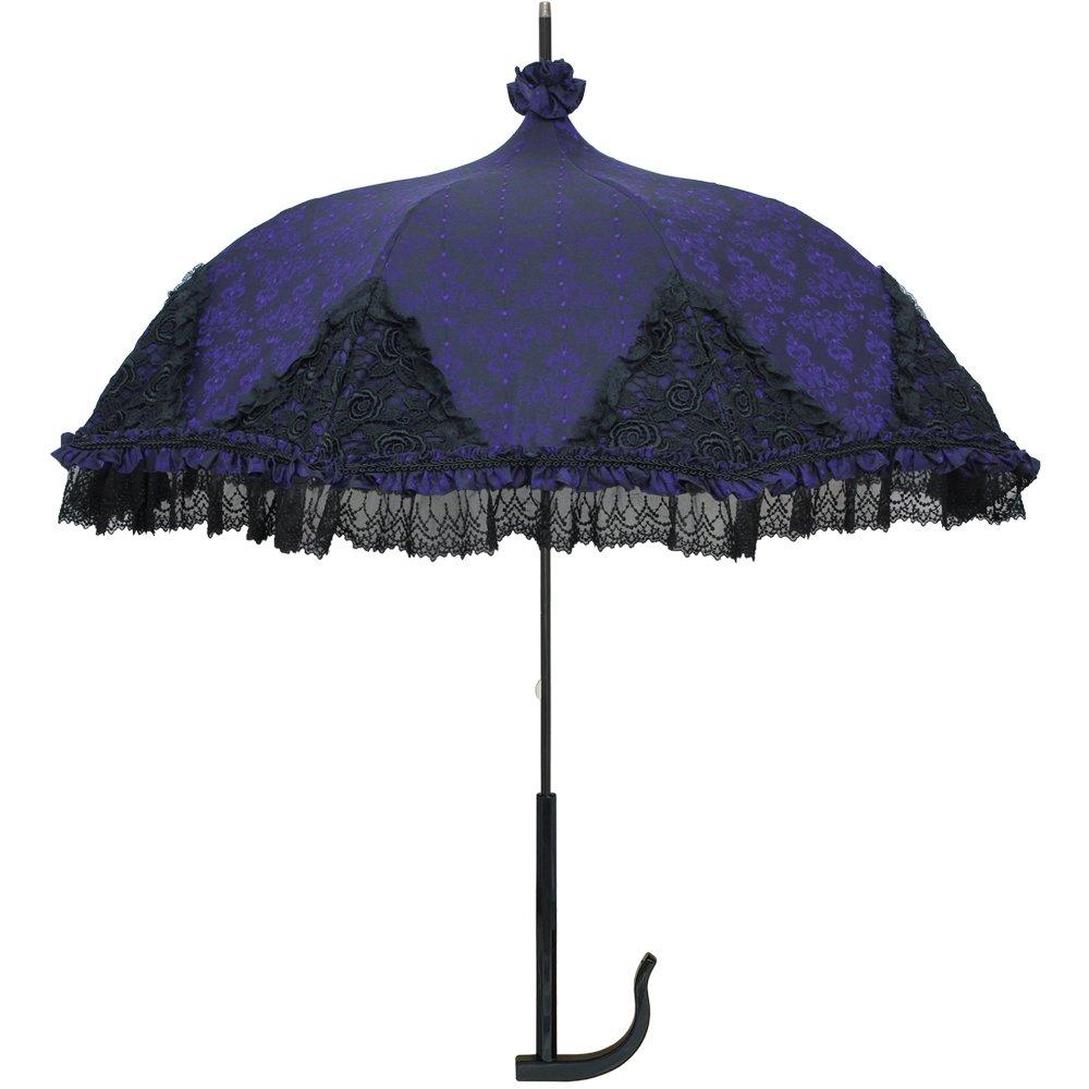 ルミエーブル 長傘 手開き ラグジュアリー シャンデリア 高級パゴタアンブレラ 全3色 パープル 8本骨 47cm UVカット率 99.0% 以上 グラスファイバー骨 日傘/晴雨兼用傘 0101-16001 B06XTL8652 パープル パープル