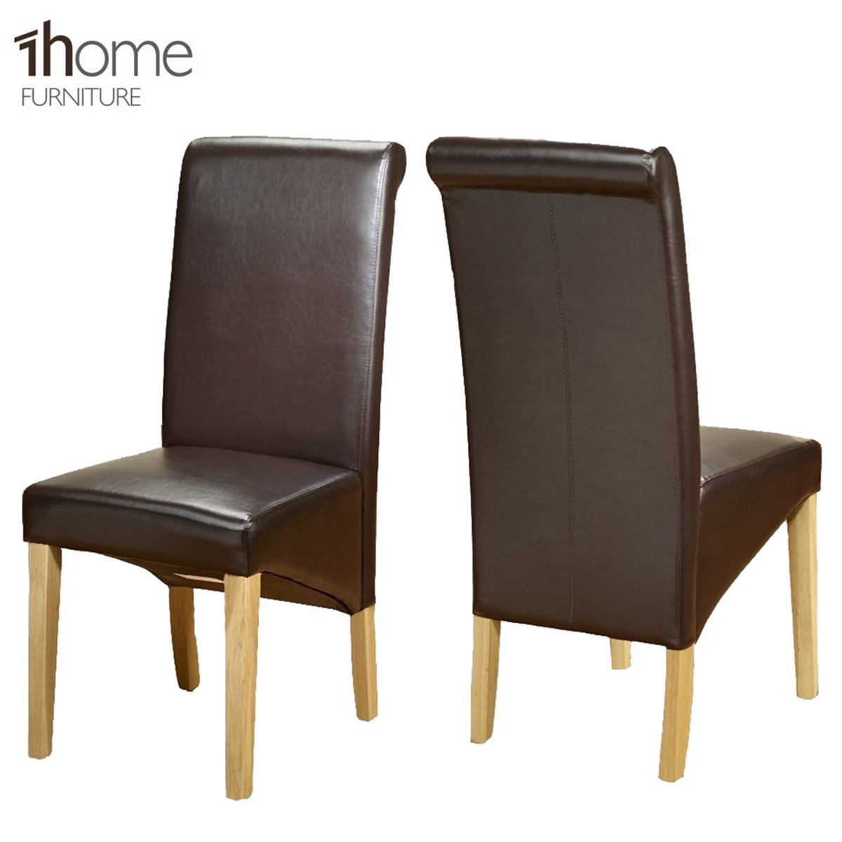 leather restaurant chairs. 2 X 1home Leather Dining Chair W Oak Finish Wood Legs Roll Top High Back Brown: Amazon.co.uk: Kitchen \u0026 Home Restaurant Chairs