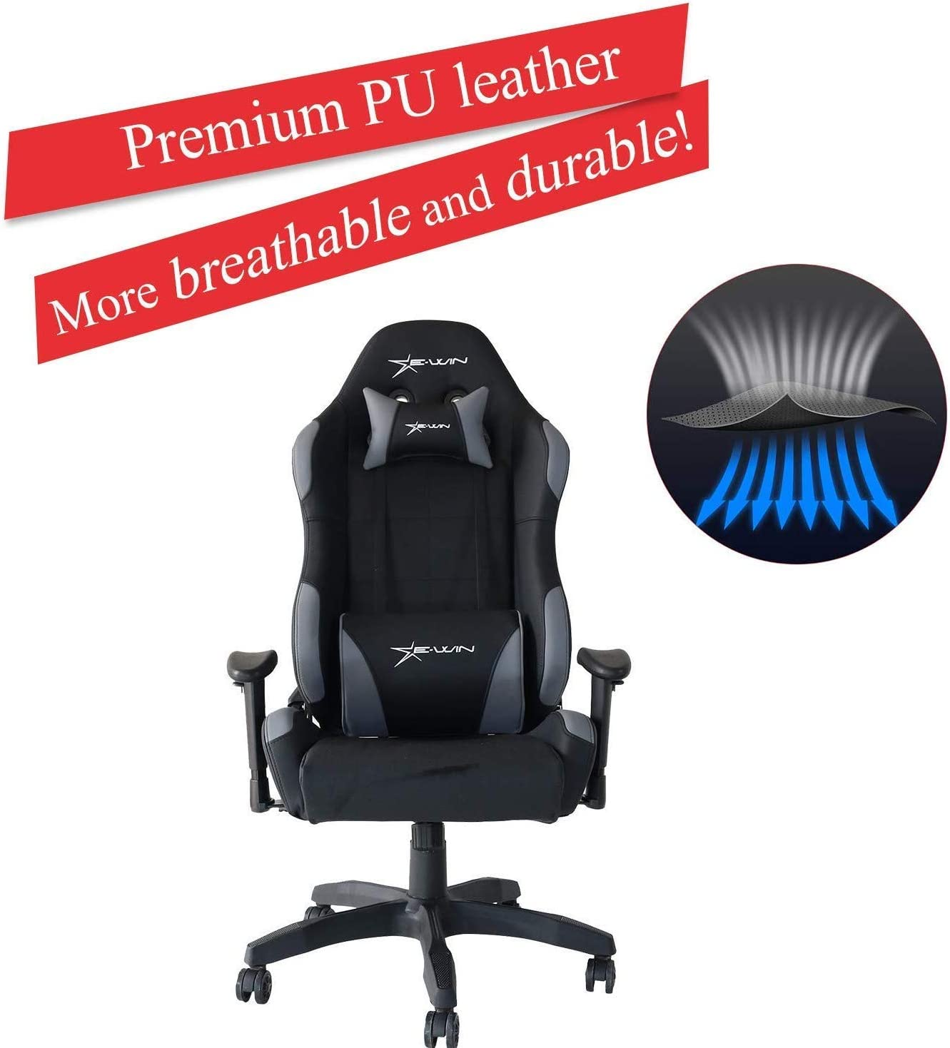 E-WIN Gaming Racing Chair 330lb Adjustable Tilt Back Angle and Armrests Ergonomic High-Back Leather Executive Computer Desk Office Chair