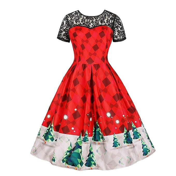 Amazon.com: Women\'s Christmas Dresses Plus Size Vintage Lace ...