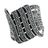Vintage Art Nouveau Marcasite Intertwined Lace Deco Ring 925 Sterling Silver