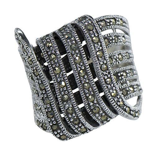 Caratera Fine Jewelry Vintage Art Nouveau Marcasite Intertwined Lace Deco Ring 925 Sterling Silver (Lace Marcasite)
