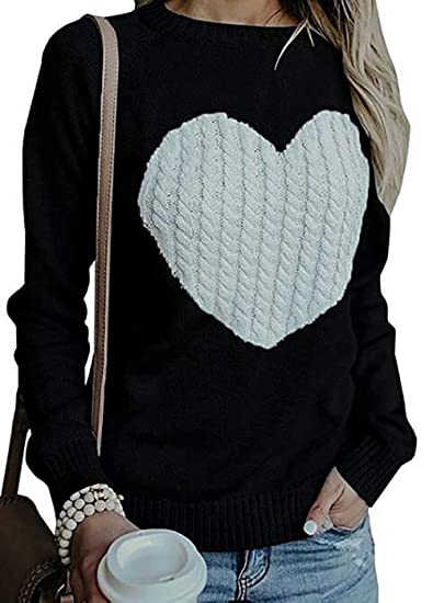 Amazon.com  Love Heart Printed Knit Sweater Top Long Sleeve Cable Knitted  Pullover Jumper Top  Clothing 5dc648d4e
