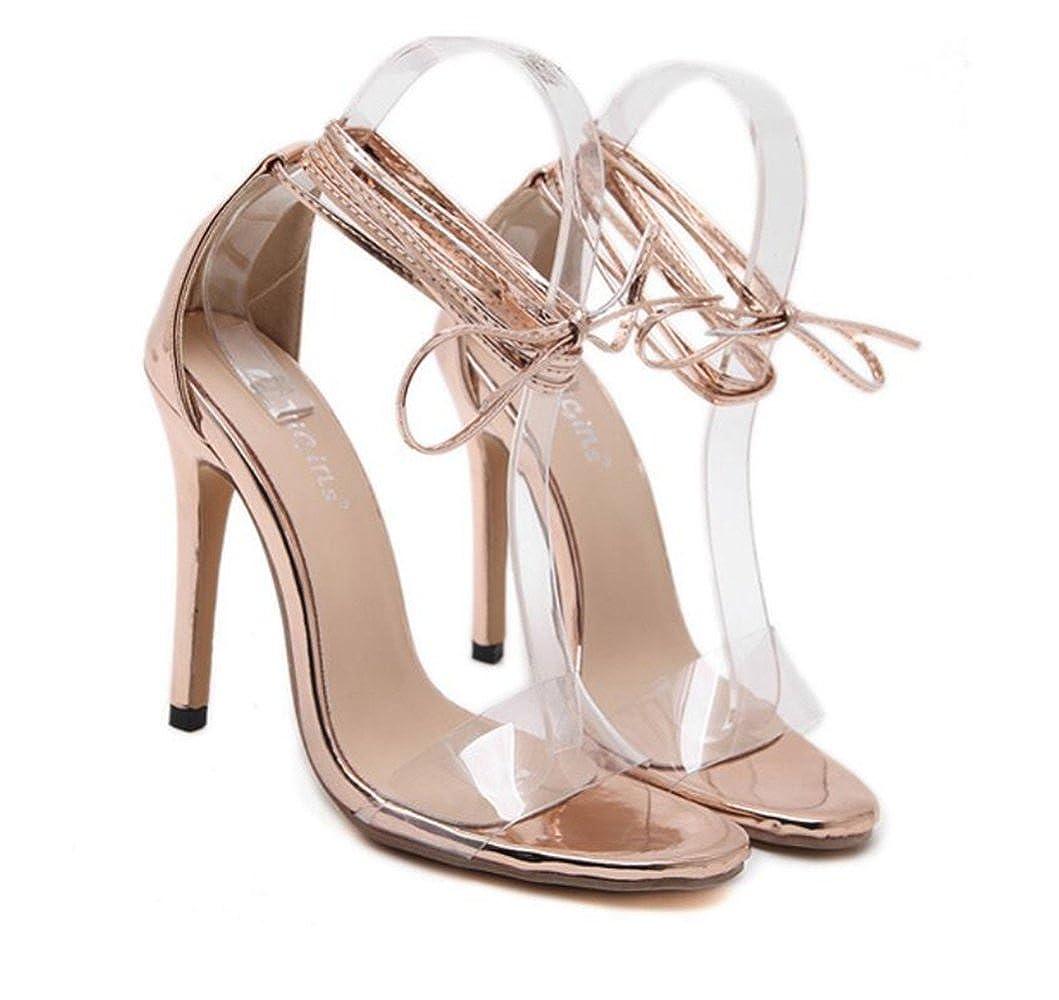 LINYI Knöchelriemen Stiletto Stiletto Stiletto Heels Sandalen Frauen Sommer Neue Offene Kappe Transparent Party High Heels Champagnegold 3ca5cb