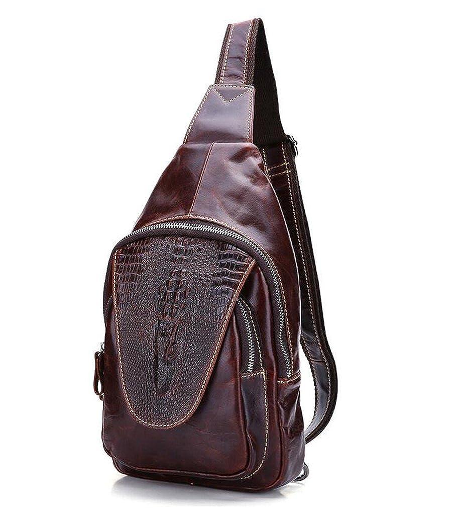 Leather Man Bag Mens Messenger Shoulder Bag Mobile Phone Belt Pouch with Top Handle 17x5x30cm