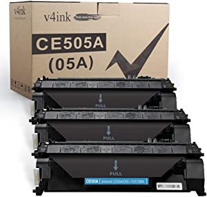 V4INK 3 Compatible Toner Cartridge Replacement for HP 05A CE505A Toner Ink Cartridge for HP Laserjet P2035 P2035n P2055dn P2055 P2055d, Pro 400 m401n m401dne m401dw MFP M425dn M425dw Printer