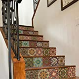 """AmazingWall 18x100CM/7.1x39.4"""" 6PCS/SET Traditional Mexican Talavera Tile Stair Sticker 3D Printing Removeable Waterproof Wallpaper Decor Home Decorations (dark)"""