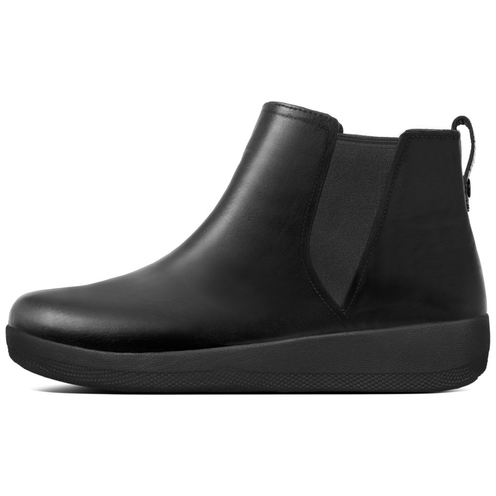 FitFlop™ Superchelsea™ Boot, Casual Ankle Boots In Black Or Chocolate Leather 40 EU|Negro (Black 001)