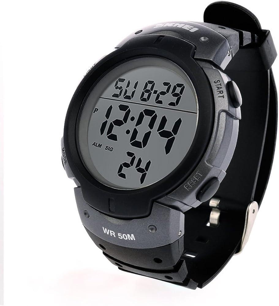 Men s Digital Electronic Sport Watch by AQI – Simple Design Quartz Waterproof Casual LED Back Light