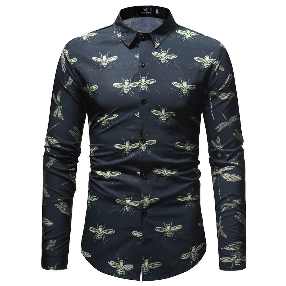 Blusa Impresa para Hombre de la Manera Camisas Ocasionales de Manga Larga Slim Tops por Internet: Amazon.es: Ropa y accesorios