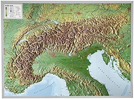 Cartina 3d Alpi.Cartina In Rilievo 3d Carte Topografiche Georelief Alpi Camping E Outdoor Navigatori Satellitari