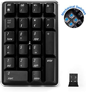 Wireless Numeric Keypad,2.4GHz Mechanical Numeric pad with Blue switches, Financial Accounting Numeric Keyboard, External Numpad Keyboard Data Entry Compatible for MacBook, Surface, Laptop,PC,etc