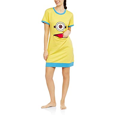 Womens Despicable Me Minions Skimp Sleep Shirt With Zipper Mouth