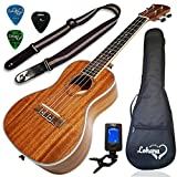 Image of Ukulele Concert Size Bundle From Lohanu (LU-C) 2 Strap Pins Installed FREE Uke Strap Case Tuner Picks Pick Holder Aquila Strings Installed Free Video Lessons BEST UKULELE BUNDLE DEAL Purchase Today…