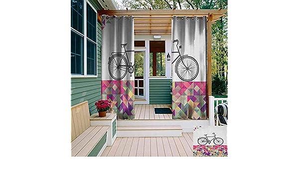 XXANS Cortina de Puerta corredera, Vertical, diseño de Rayas de Zigzag con triángulos, Estilo Vintage, Mosaico artístico, Cortinas con Ojales para recámara: Amazon.es: Jardín
