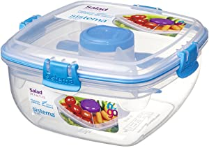 Sistema To Go Collection Salad Food Storage Container, 37 oz./1 L, Clear/Blue