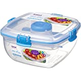 Sistema To Go Collection Salad to Go Food Storage Container, 37 Ounce/ 4.6 Cup, Clear with Assorted Color Accents