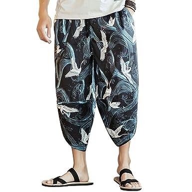 Zhhlinyuan Harem Pantalón Hombre Verano Boho Hippie Aladdin ...