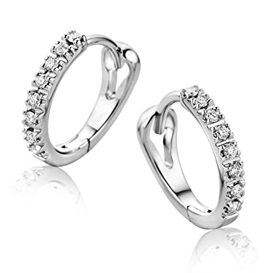 Orovi Woman Hoops Earrings 9 ct / 375 Yellow Gold With Diamonds Brilliant Cut 0.10 ct Pcco8QARI