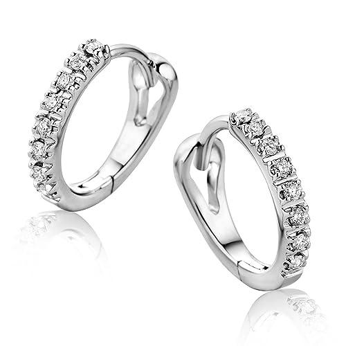 eab42cf50125 Orovi Pendientes Señora aros en Oro Blanco con Diamantes Talla Brillante  0.10 ct Oro 9 Kt   375  Amazon.es  Joyería