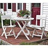 Adams Manufacturing Weather Resistant Lightweight Durable Resin Comfortable Sturdy Outdoor Recreation Quik-Fold 3-Piece Patio Cafe Bistro Set (White)