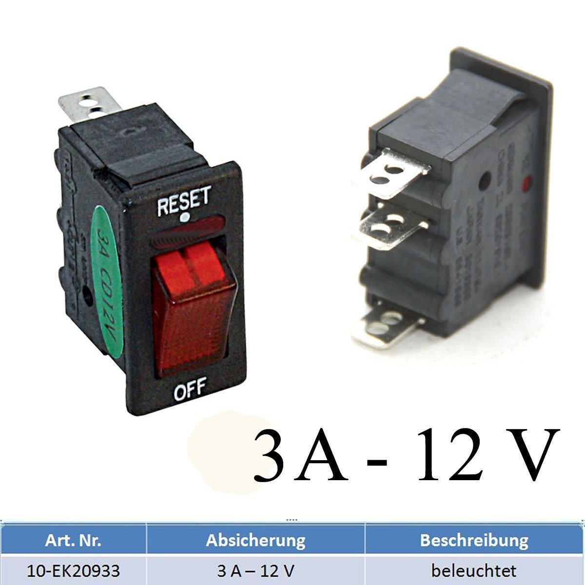 Sicherungsautomat Schutzschalter 12 Volt / 3 Ampere mit Beleuchtung bootsshop in Bad Ischl