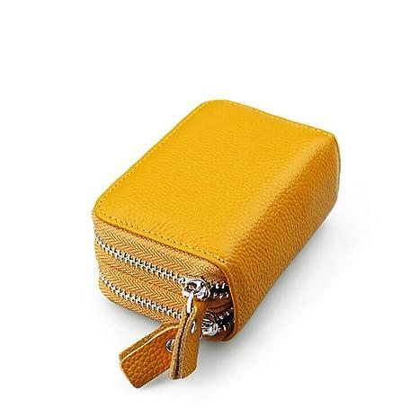 DcSpring RFID Cartera Tarjeteros Piel Genuino Monedero Pequeñas Portatarjetas Mini Cremallera para Mujer Hombre (Amarillo)