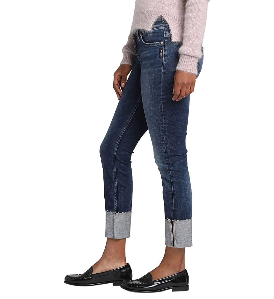 Silver Jeans Co Womens Elyse Relaxed Fit Mid Rise Slim Leg