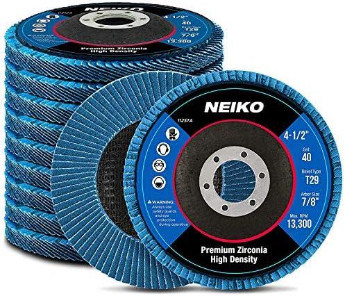 "Neiko 11257A High Density Jumbo Premium Zirconia Flap Disc | 4.5"" x 7/8-Inch, 40 Grit, Bevel Type #29-10 Pack"
