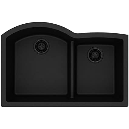Elkay Quartz Classic ELGHU3322RBK0 Black Offset 60/40 Double Bowl Undermount  Sink With Aqua Divide