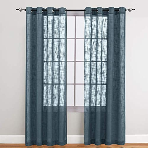 Sheer Curtains for Living Room Grommet Top Slub Open Weave Linen Textured Curtain Sets for Bedroom Two Panels 84 Inch Navy Blue