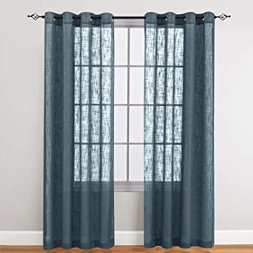 Sheer Curtains for Living Room Grommet Top Slub Open Weave Linen Textured  Curtain Sets for Bedroom Two Panels 95 Inch Navy Blue