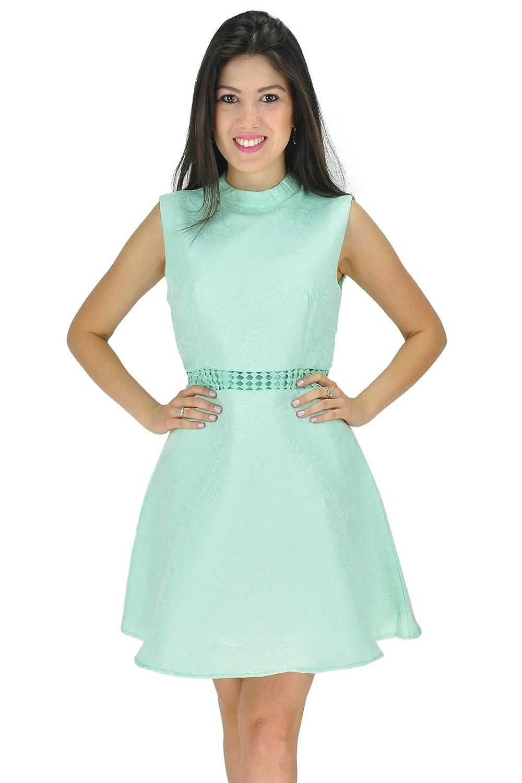 Damen ärmel hohe Ansatz-Sommer-Kleid-Blumen-Muster-Abend-Partei-Kleid