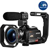 Ordro AC5 4K Camcorder Ultra HD WiFi Video Camera(10X Optical Zoom, 3.1 Inch IPS Touch Screen,Microphone,Wide Lens, Lens Hood)-Black