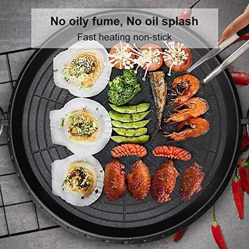 Poêle À Griller Ronde, Poêle à griller ronde de style coréen avec surface revêtue de pierre Maifan Plaque de cuisson antiadhésive sans fumée pour barbecue intérieur extérieur