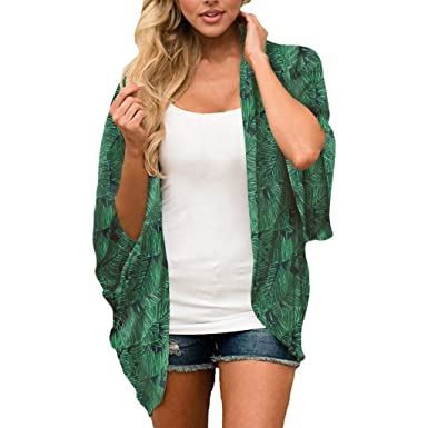62c63f89643 Plus Size Chiffon Cardigan for Women s Floral Print Sheer Loose Kimono  Cardigan Blouse Ladies Summer Loose