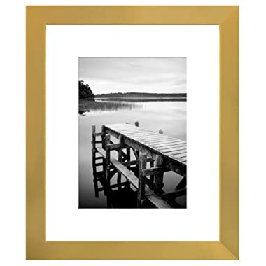 Americanflat 8x10 Gold Picture Frame - Display Pictures 5x7 with Mat - Display Pictures 8x10 Without Mat - Wall Mounting Material Included - Easel Back Included