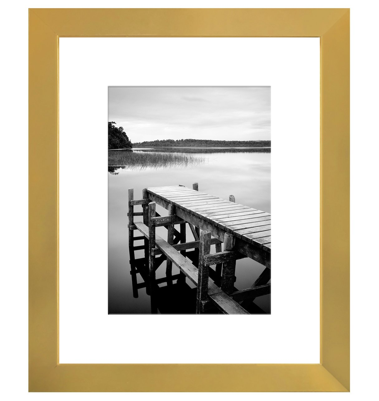 Americanflat 8x10 Gold Picture Frame - Display Pictures 5x7 with Mat - Display Pictures 8x10 Without Mat - Wall Mounting Material Included - Easel Back Included by Americanflat