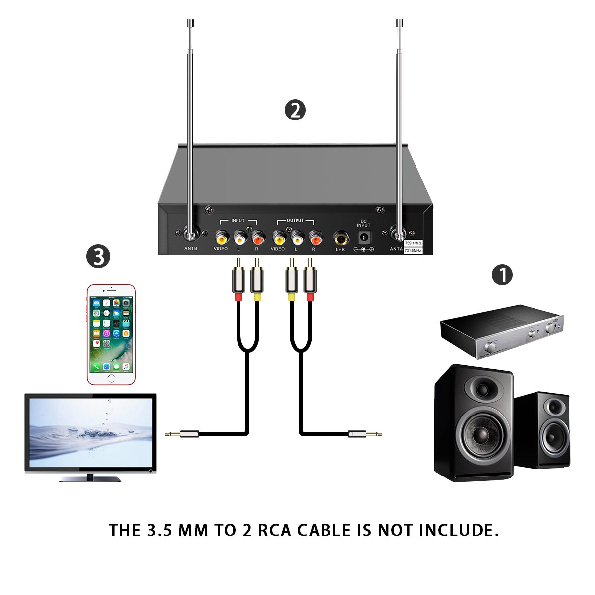 EIVOTOR 2-Channel Professional Portable VHF Wireless Microphone System with 2 Handheld Microphones for Karaoke Singing Machine White A EIVOTORFirstmore1506 Home KTV Set