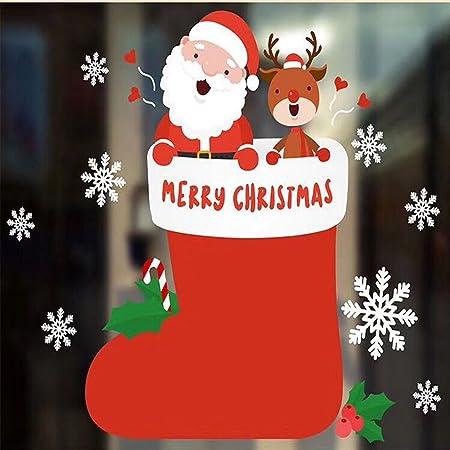 UBabamama Merry Christmas Background DIY Colorful Xmas Santa Claus Snowman Elk Wall Sticker Cute Cartoon
