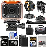 HP AC300w 1080p HD Wi-Fi Action Camera Camcorder & LCD Wrist Remote with Action Mounts + 32GB Card + Battery & Charger + Case + Kit